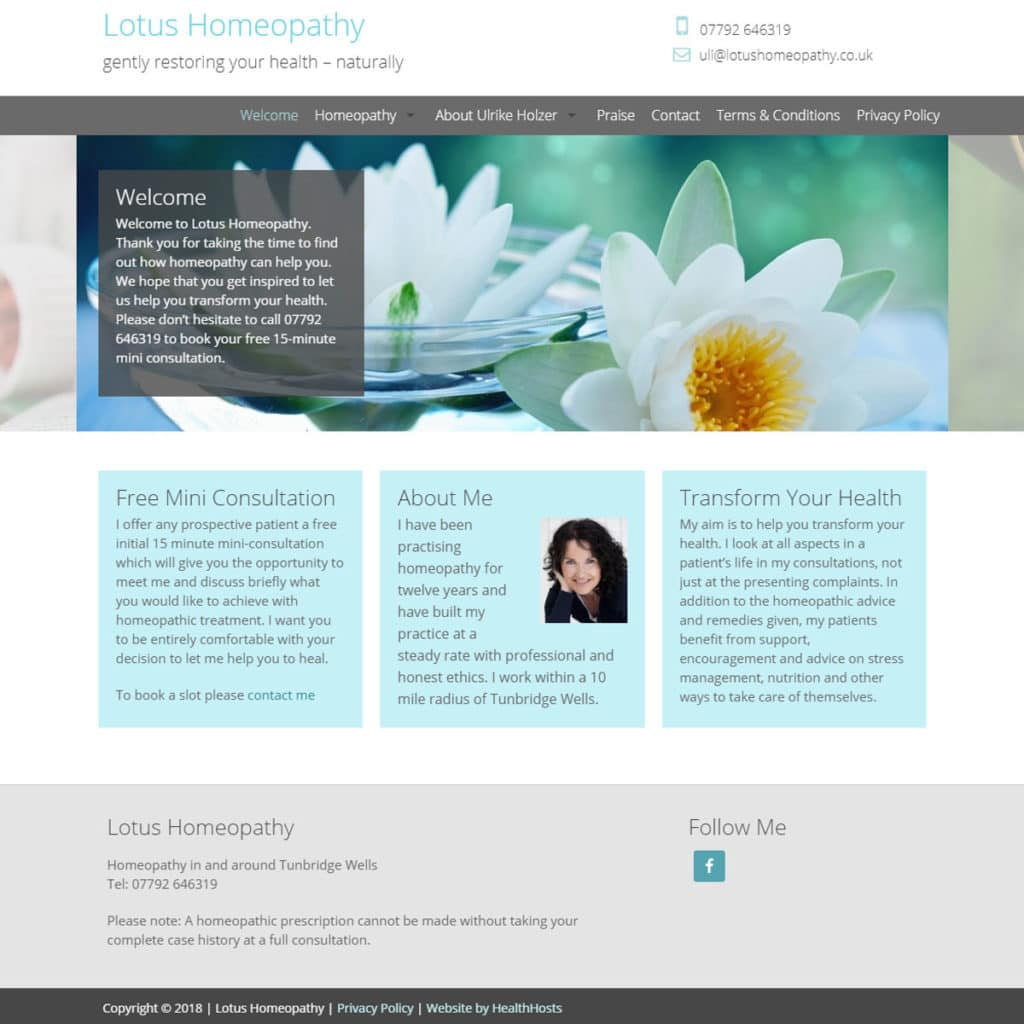 Homeopathy 1 Website Design - HealthHosts - Websites for