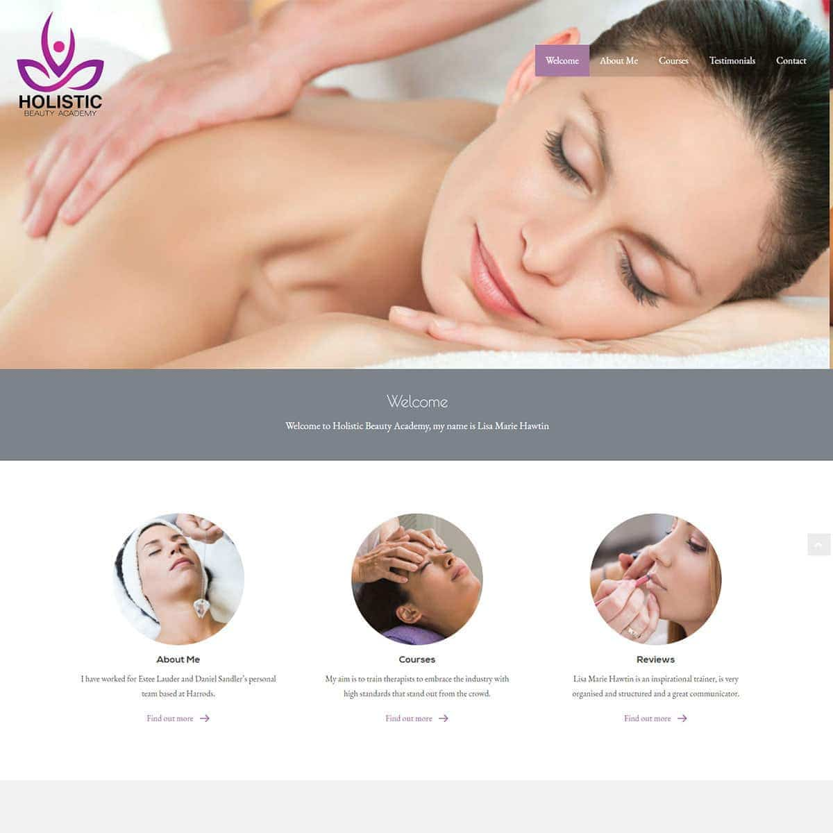Holistic Beauty Academy - HealthHosts - Web Design for Therapists