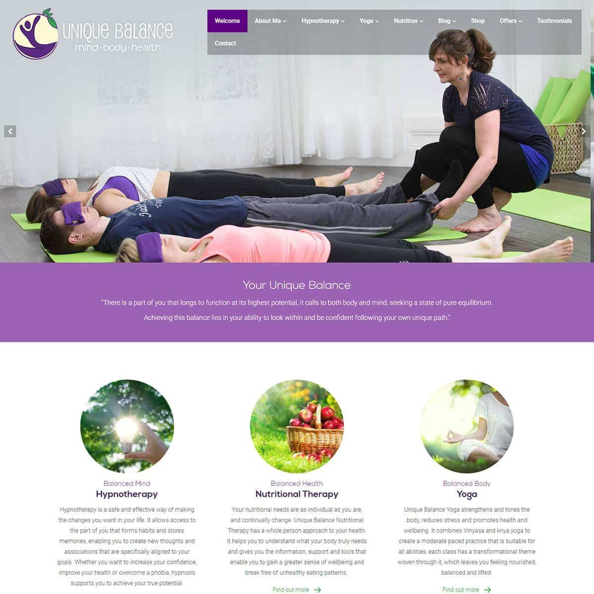 Unique Balance - HealthHosts - Web Design for Therapists