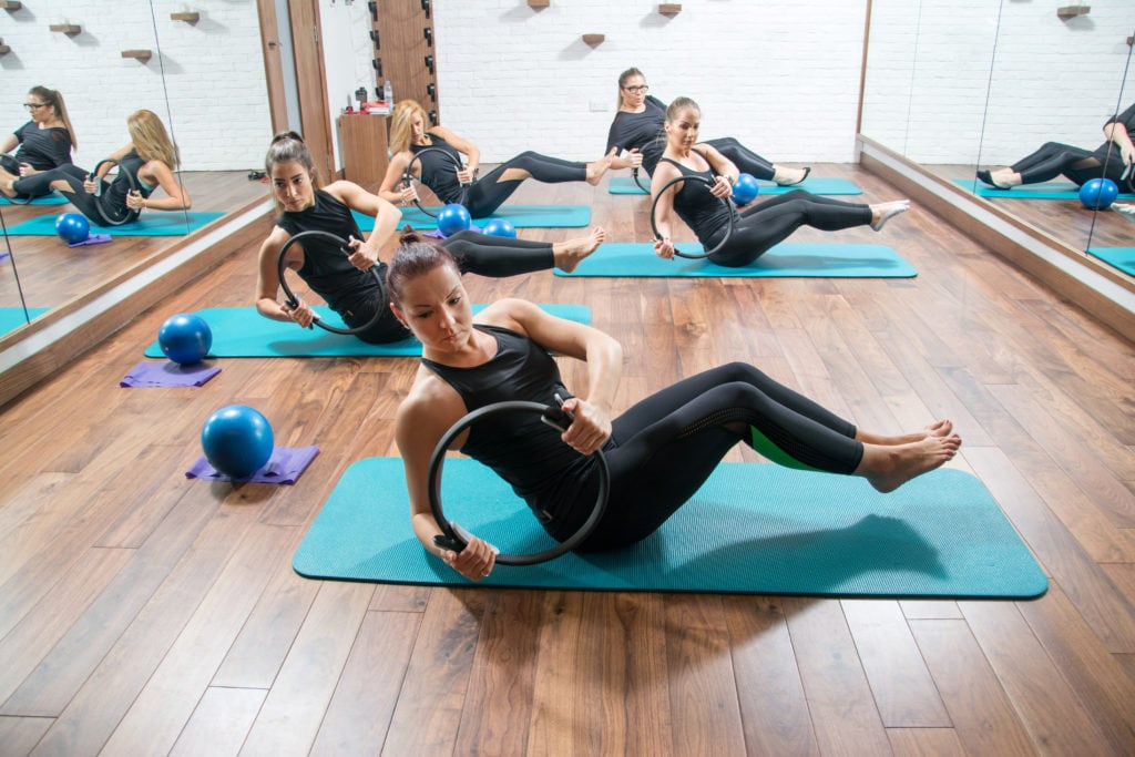 Pilates class in health club