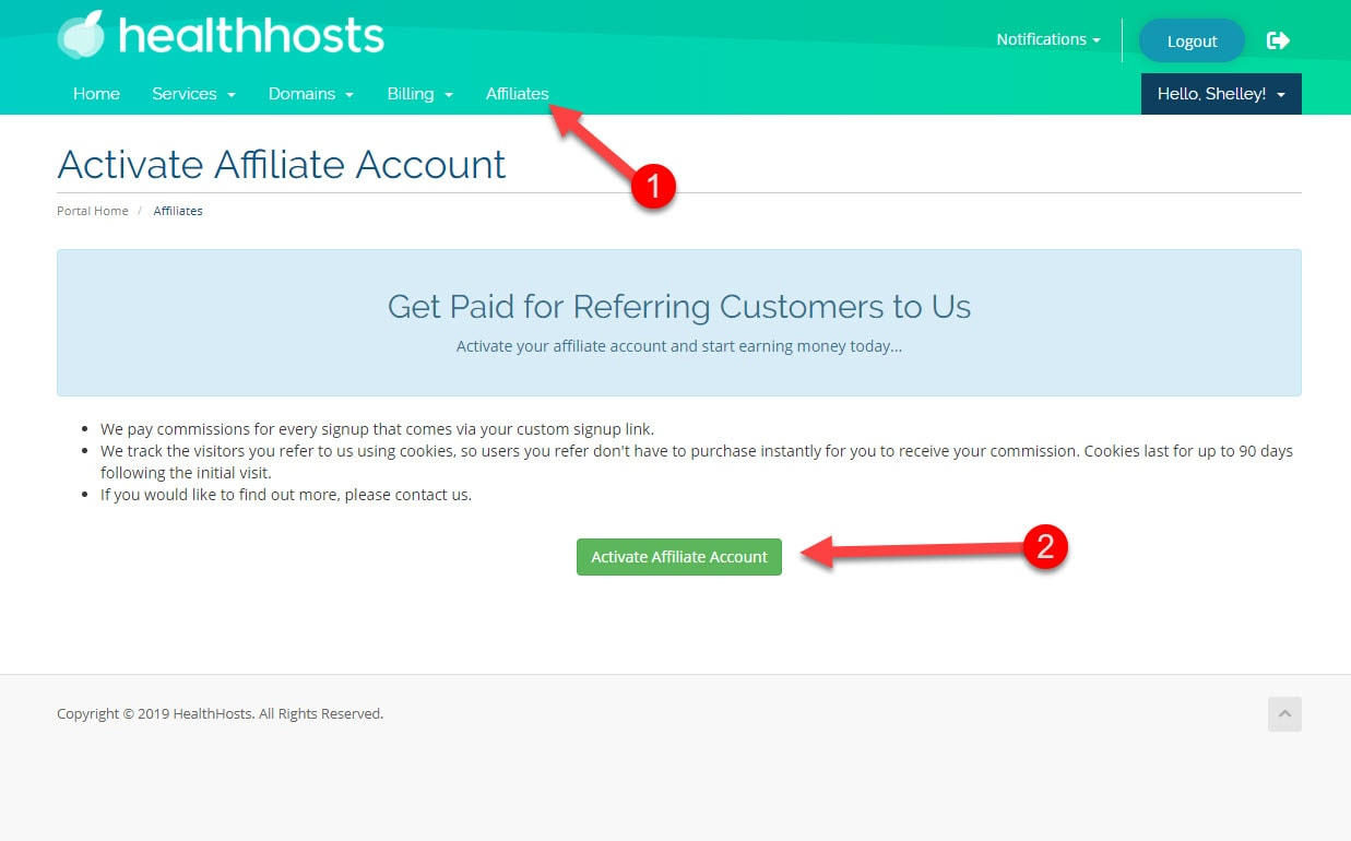 activate affiliate account