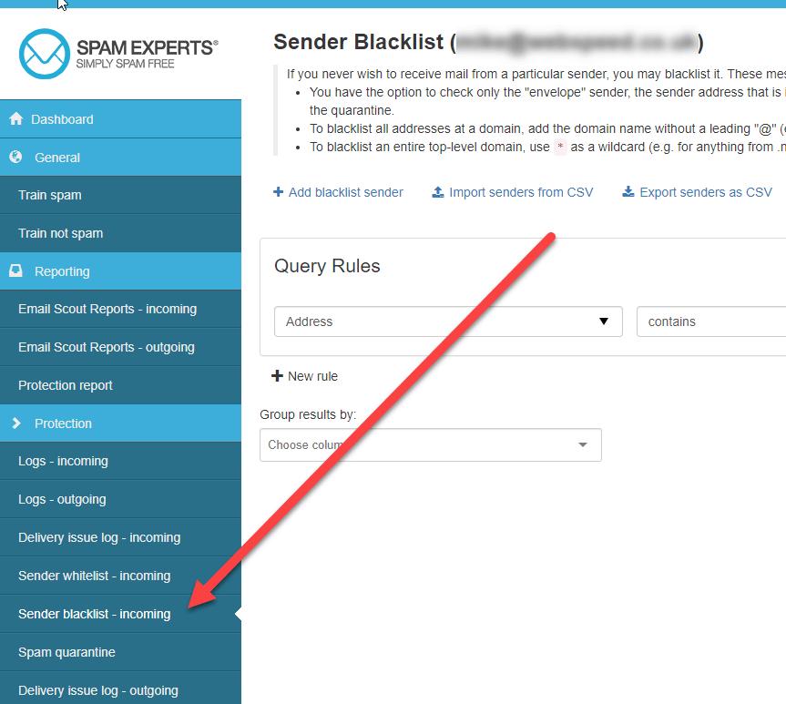 Sender Blacklist Incoming
