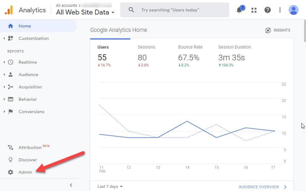 setup analytics click admin