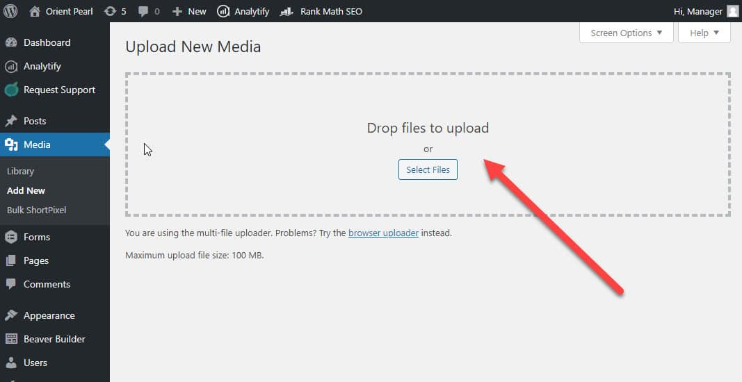 upload to media library