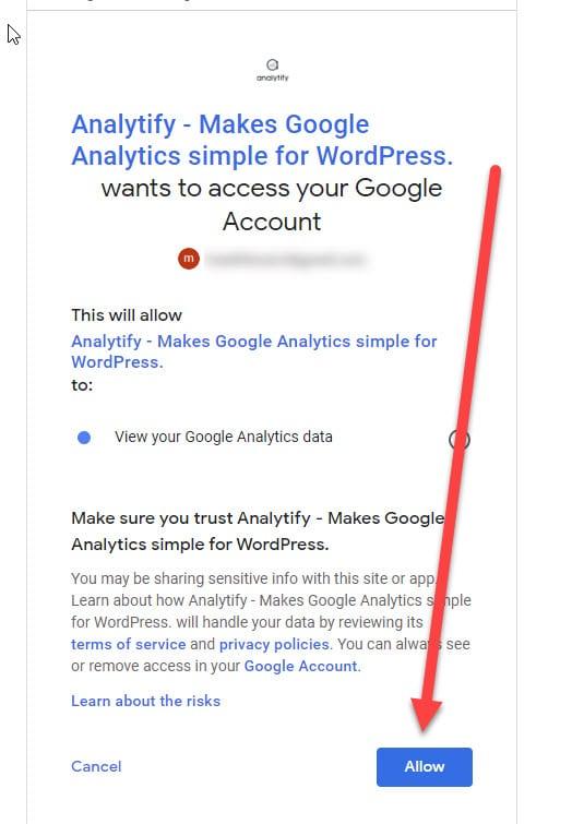 allow google analytics