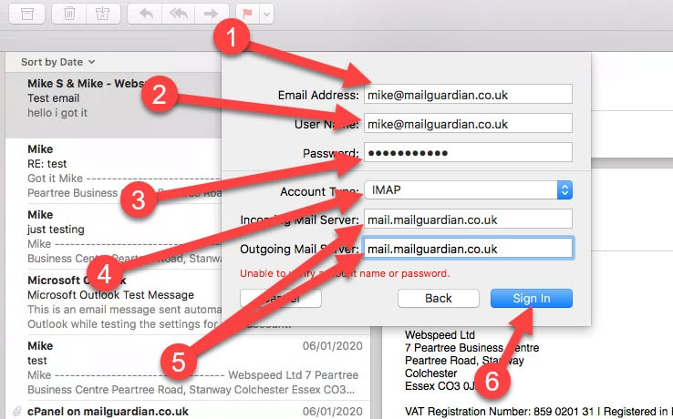 Add your email account details