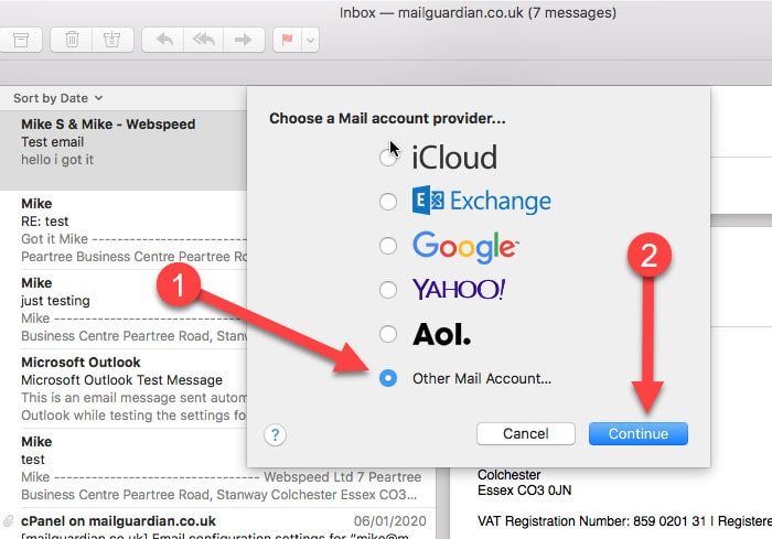 choose mail account provider