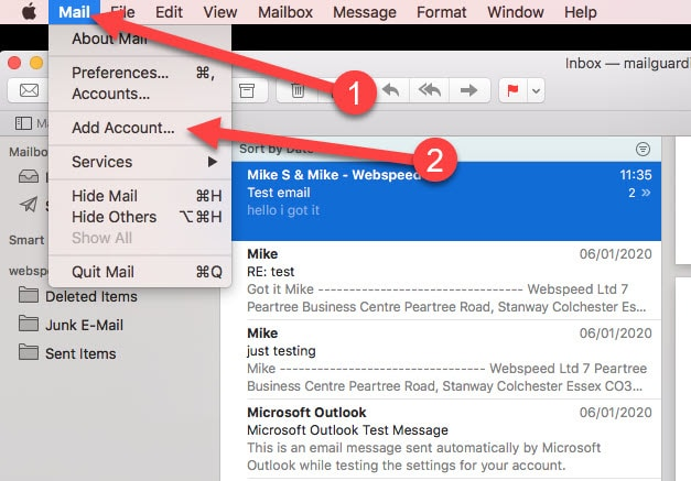 setting up email in mac mail- add account