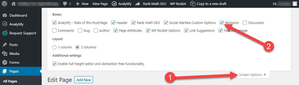 enable wordpress page and post revisions