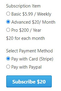 Accept Monthly-Annual Subscriptions